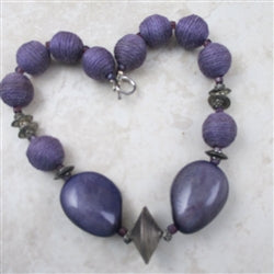 Purple Hemp and Tagua Nut Big Bold Necklace