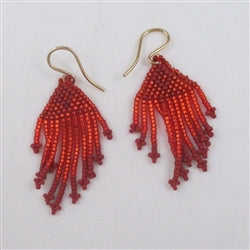 Red seed bead dangling earrings