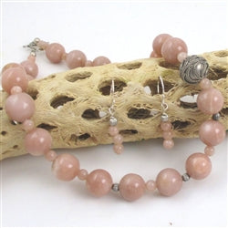 Pink moonstone heirloom-quality necklace & earrings