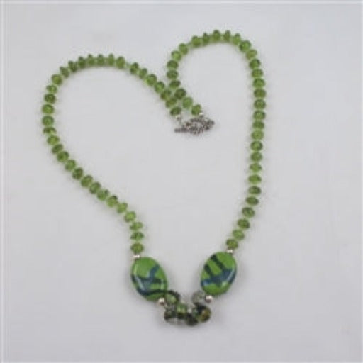 Green Fair trade Kazuri beads and peridot necklace