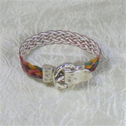 Bright multi-colored braided leather bracelet for a woman
