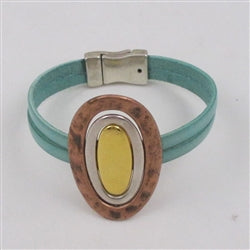 Distressed pastel turquoise leather bracelet with tri-colored focus