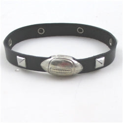 Studded Black Leather Man's bracelet with Football Clasp