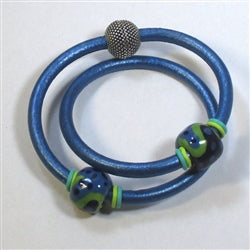 Buy bright blue metallic double leather cord with handmade Kazuri bead accents in a handcrafted bracelet