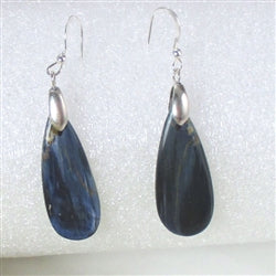 Rare Blue Pietersite Gemstone Handcrafted teardrop earrings