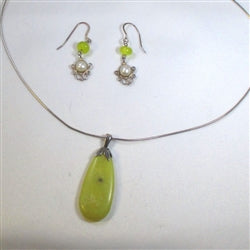 Handcrafted new jade pendant on silver chain with new jade & pearl earrings