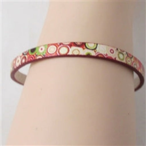 Pretty red & cream leather bracelet for a child