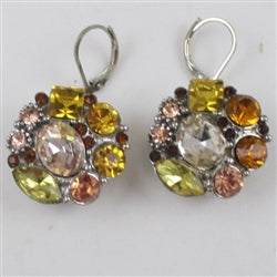 Shades of Gold Multi-stone Crystal Drop Earrings