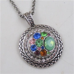 Multi-stone multi-colored crystal & silver pendant necklace