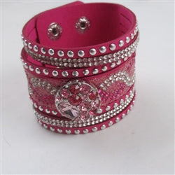 Buy Wide Rhinestone Hot Pink  Leather Bracelet