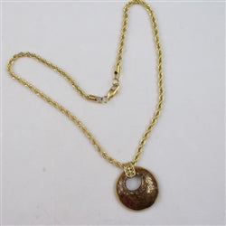 Kazuri Pendant on gold rope chain necklace
