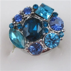 Delightful Aqua & Blue  Multi-crystal on  silver fashion ring