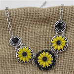 Bright Yellow & Black Sunflower Statement Necklace