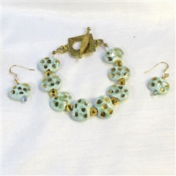 Buy aqua & gold Kazuri bracelet & earrings that are one of a kind