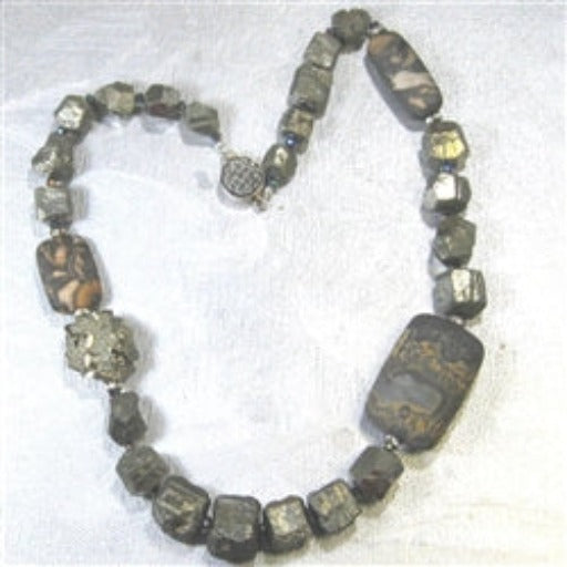 Buy Gemstone {Picture Jasper and Pyrite} Necklace.Rare &  Exotic Necklace