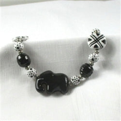 Buy unique African inspired fair trade Kazuri necklace in black and white