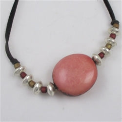 Buy pink tagua nut eco-friendly necklace