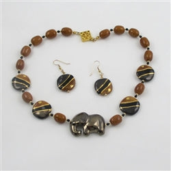 Buy black Kazuri Fair trade  elephant necklace & earrings online