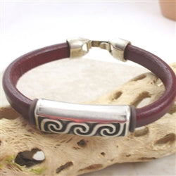 Thick leather cord in burgundy  with silver wave front panel bracelet for amon