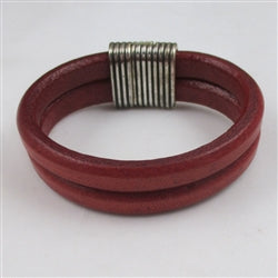 Classic red leather cuff bracelet