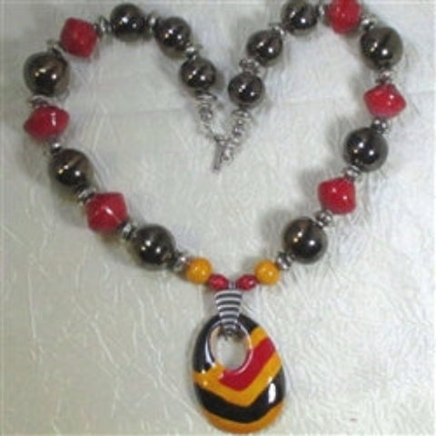 Buy red & yellow fair trade bead Kazuri pendant necklace