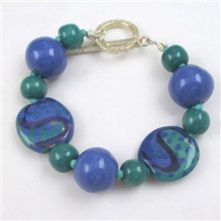 Big Bold Blue Kazuri Bracelet in Fair Trade Beads
