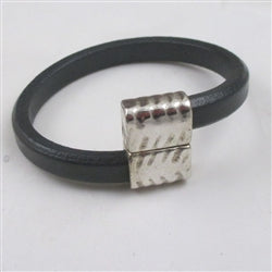 Dark grey leather cord bracelet for a man