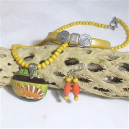 yellow cat pendant  on gemstone necklace leather bracelet & earrings
