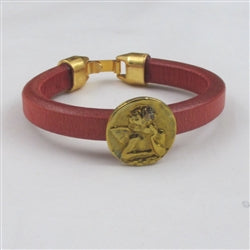 Red Leather Bracelet with Angel Coin Focus