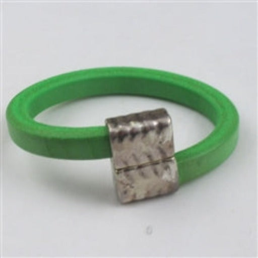 Bright green thick leather cord bracelet with offset clasp