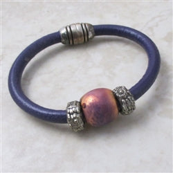 purple leather cord bracelet for a child