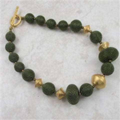 Exotic Big Bold Olive Green Beaded Bead Necklace