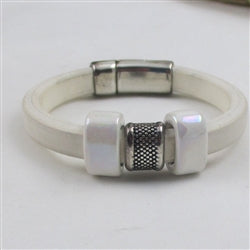 white leather cord bracelet with white handmade accents