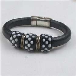 Black leather racelet with black & white accents