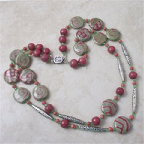 Fair trade double strand Kazuri necklace in rose & green