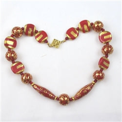 Buy exquisite big bold red Kazuri necklace handmade