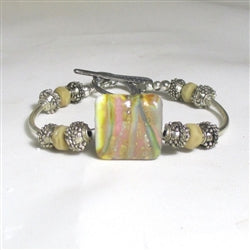 Buy handmade silver bangle bracelet with lampwork focus