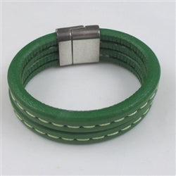 Green leather cuff bracelet