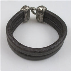 Man's leather cuff bracelet brown