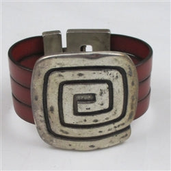 Big Bold Red Leather Cuff Bracelet