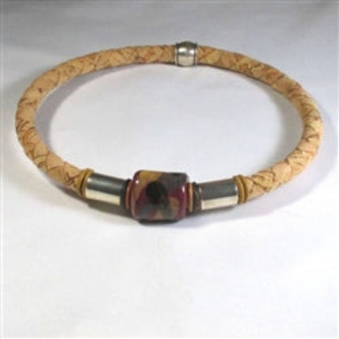 Buy Natural Cork Necklace for a Man with fair trade bead accent