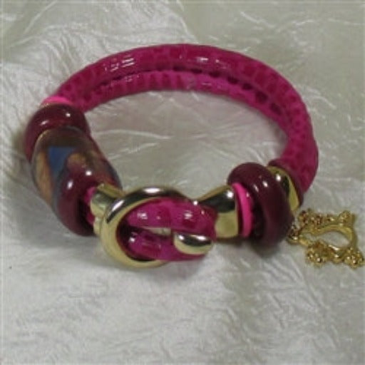 buy pink leather cord bracelet with fair trade accents