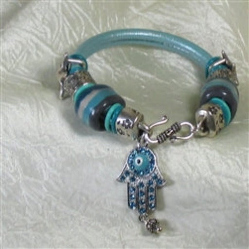 unique one of a kind aqua fair trade bead leather bracelet
