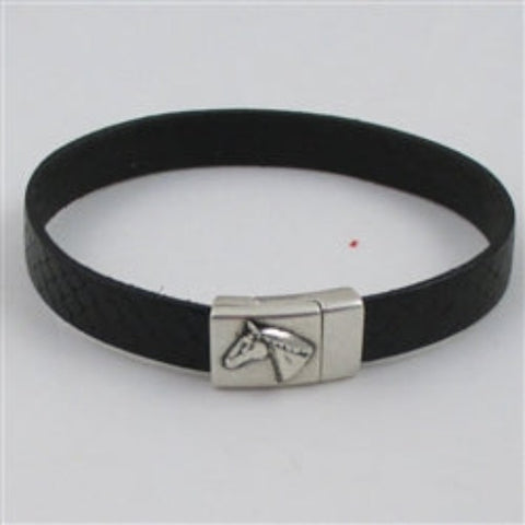 Buy classic black leather  bracelet for a man