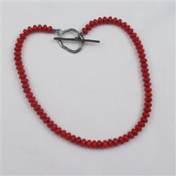 red gemstone bead necklace