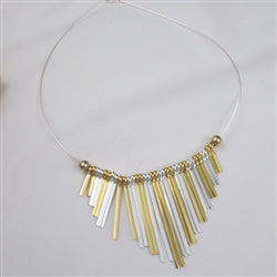 Double Fan Gold & silver graduating bead pendant necklace