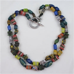 African trade recycled glass bead handmade necklace made with Kabo beads from Ghana Double Strand