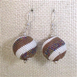 Beige Beaded Bead Designer Earrings