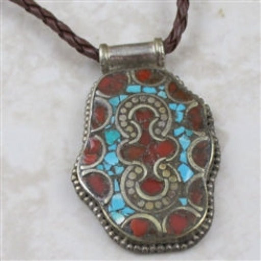 Men's Turquoise & Coral Necklace