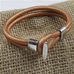 Golden camel leather cord bracelet